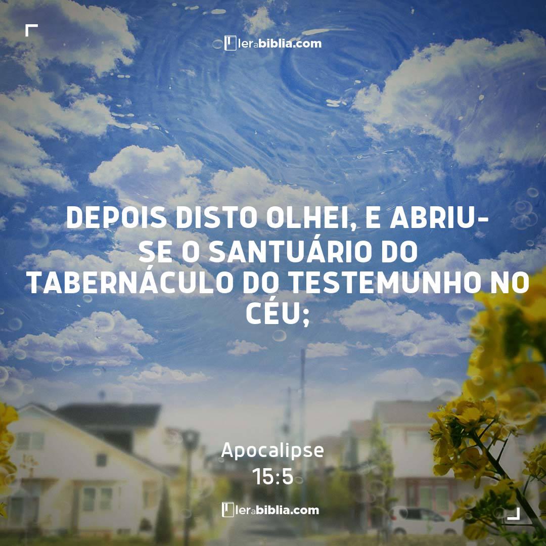 Depois disto olhei, e abriu-se o santuário do tabernáculo do testemunho no céu; – Apocalipse