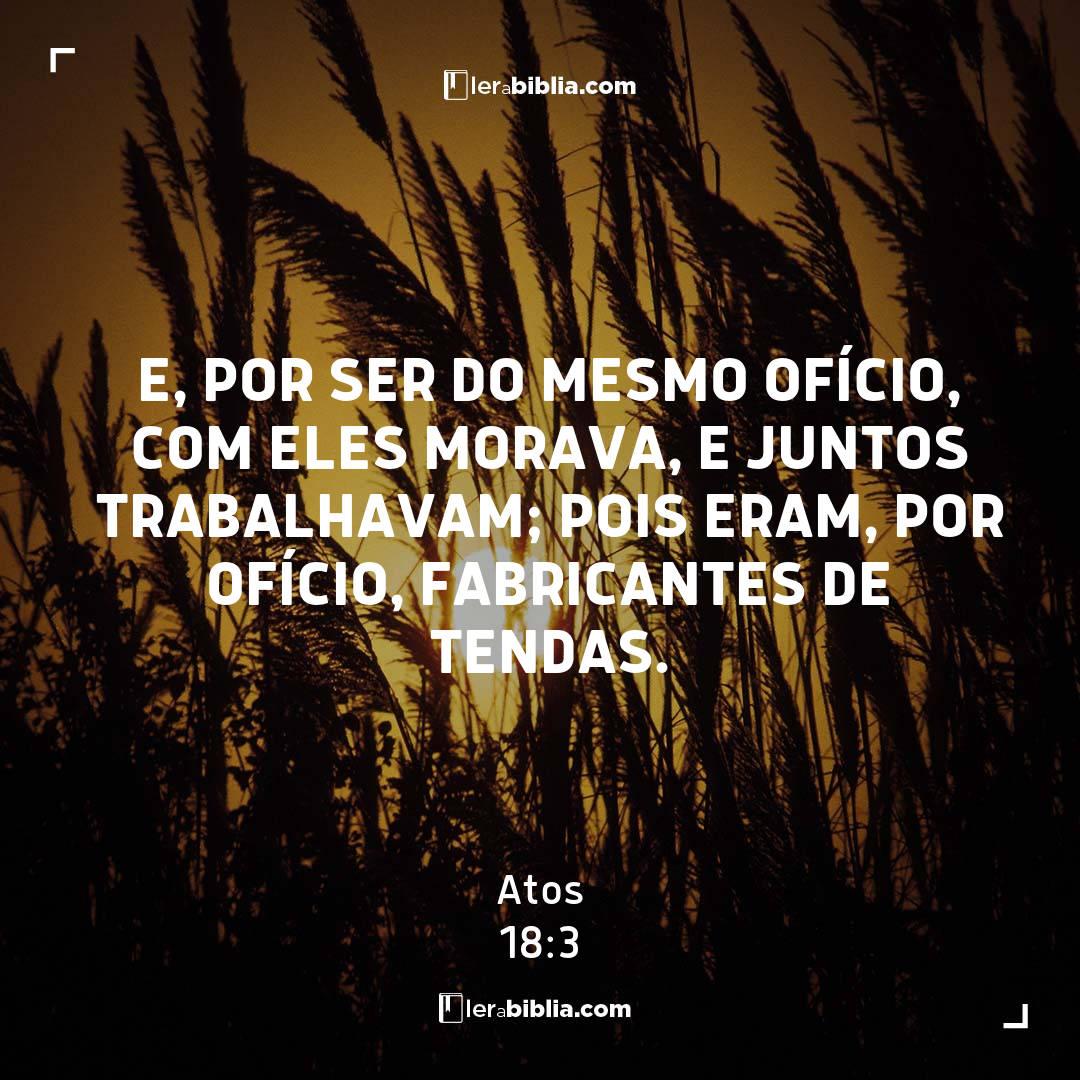 e, por ser do mesmo ofício, com eles morava, e juntos trabalhavam; pois eram, por ofício, fabricantes de tendas. – Atos
