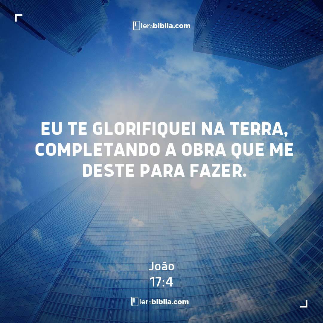 Eu te glorifiquei na terra, completando a obra que me deste para fazer. – João