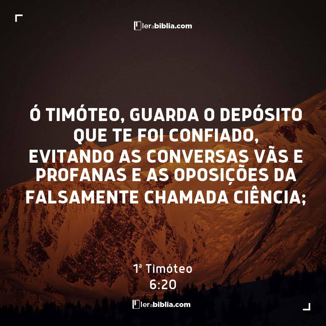 Ó Timóteo, guarda o depósito que te foi confiado, evitando as conversas vãs e profanas e as oposições da falsamente chamada ciência; – 1ª Timóteo