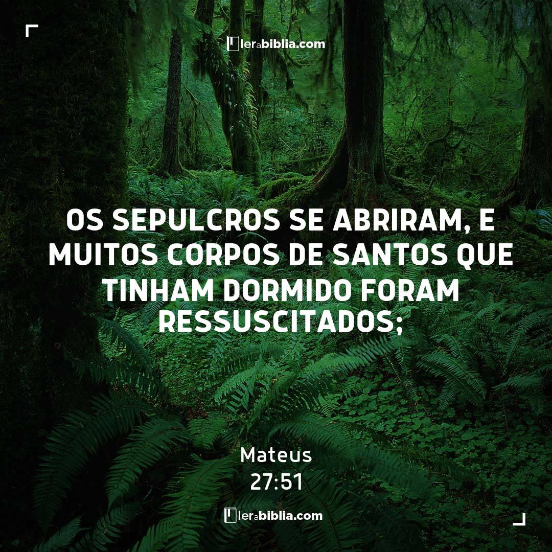 os sepulcros se abriram, e muitos corpos de santos que tinham dormido foram ressuscitados; – Mateus