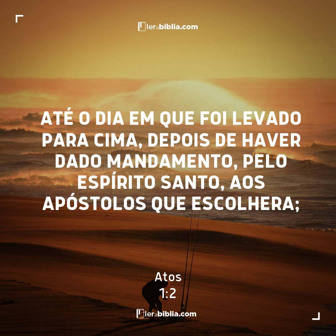 até o dia em que foi levado para cima, depois de haver dado mandamento, pelo Espírito Santo, aos apóstolos que escolhera; – Atos