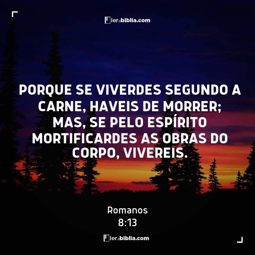 porque se viverdes segundo a carne, haveis de morrer; mas, se pelo Espírito mortificardes as obras do corpo, vivereis. – Romanos