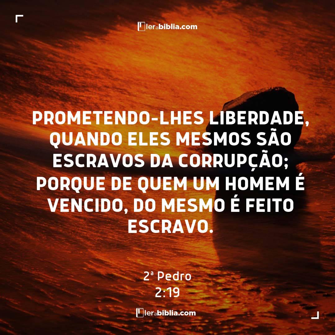 prometendo-lhes liberdade, quando eles mesmos são escravos da corrupção; porque de quem um homem é vencido, do mesmo é feito escravo. – 2ª Pedro