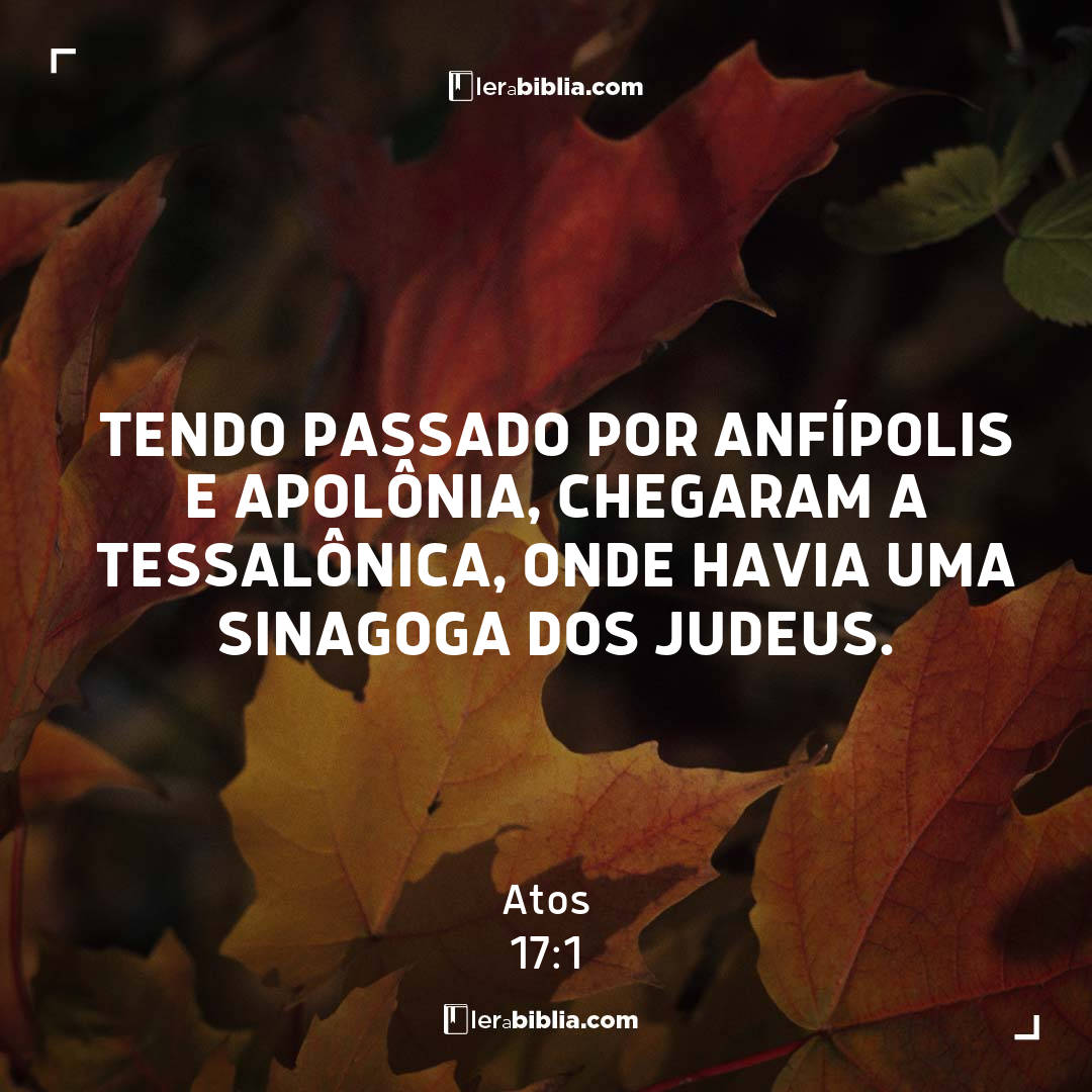 Tendo passado por Anfípolis e Apolônia, chegaram a Tessalônica, onde havia uma sinagoga dos judeus. – Atos