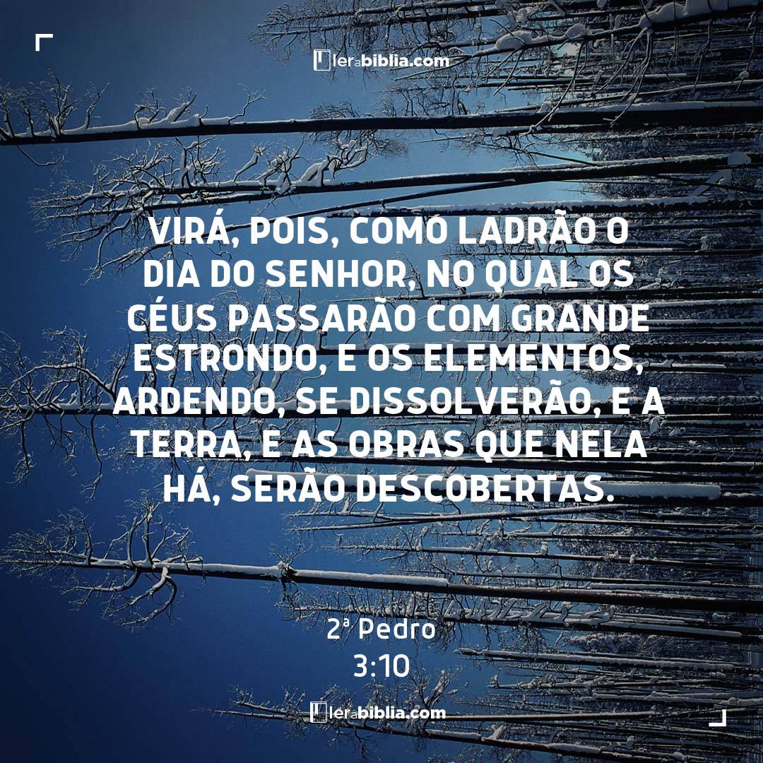 Virá, pois, como ladrão o dia do Senhor, no qual os céus passarão com grande estrondo, e os elementos, ardendo, se dissolverão, e a terra, e as obras que nela há, serão descobertas. - 2ª Pedro