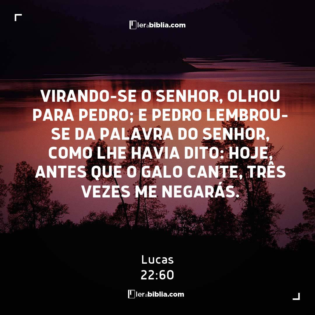 Virando-se o Senhor, olhou para Pedro; e Pedro lembrou-se da palavra do Senhor, como lhe havia dito: Hoje, antes que o galo cante, três vezes me negarás. - Lucas