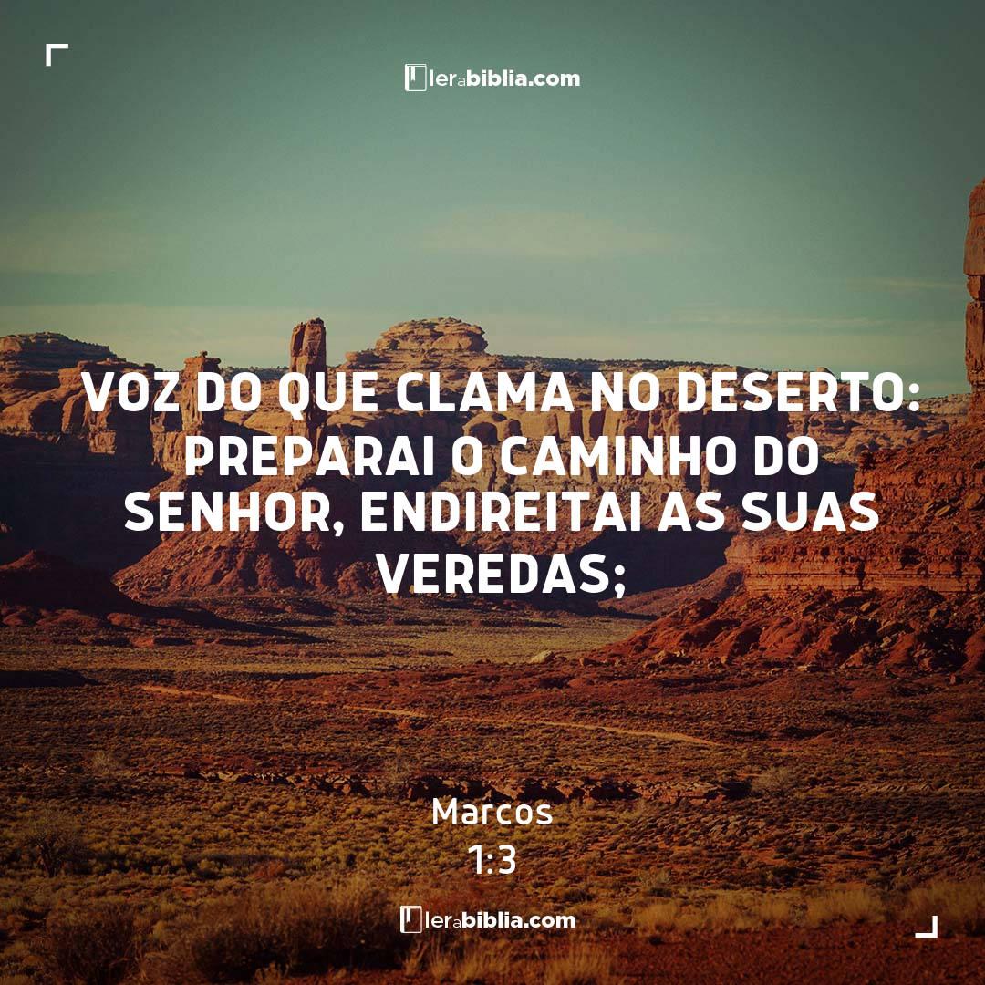 voz do que clama no deserto: Preparai o caminho do Senhor, endireitai as suas veredas; - Marcos