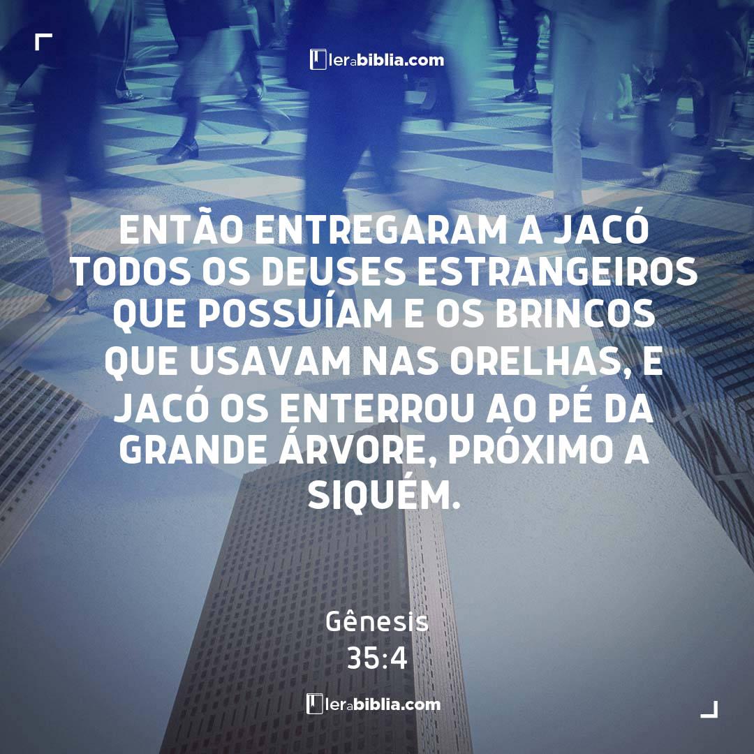 Gênesis - 35 - 4 - Então entregaram a Jacó todos os deuses estrangeiros que possuíam e os brincos que usavam nas orelhas