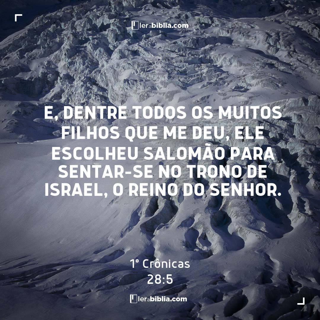 E, dentre todos os muitos filhos que me deu, ele escolheu Salomão para sentar-se no trono de Israel, o reino do Senhor. – 1º Crônicas