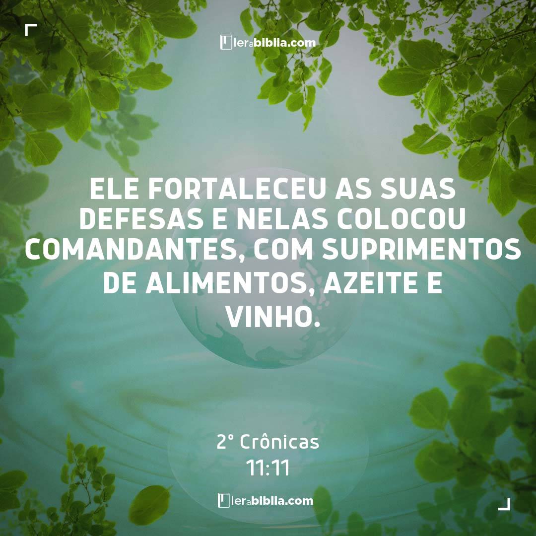 Ele fortaleceu as suas defesas e nelas colocou comandantes, com suprimentos de alimentos, azeite e vinho. – 2º Crônicas