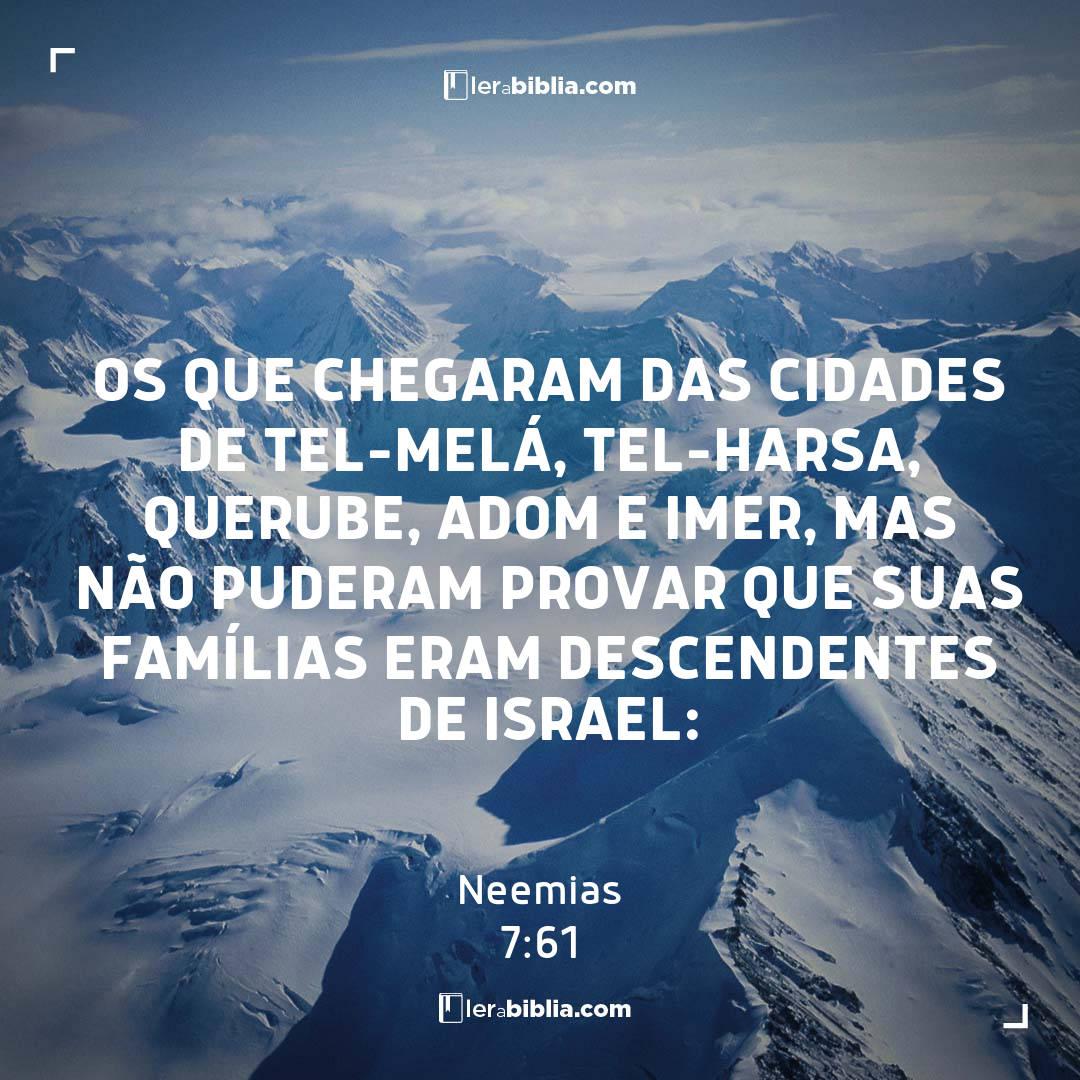 Os que chegaram das cidades de Tel-Melá, Tel-Harsa, Querube, Adom e Imer, mas não puderam provar que suas famílias eram descendentes de Israel: – Neemias