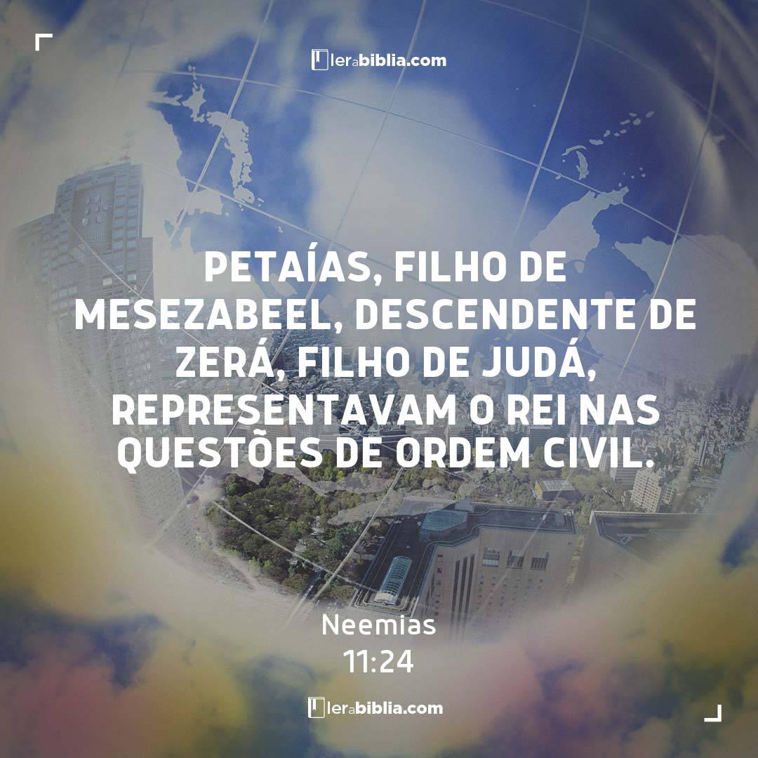 Petaías, filho de Mesezabeel, descendente de Zerá, filho de Judá, representavam o rei nas questões de ordem civil. – Neemias