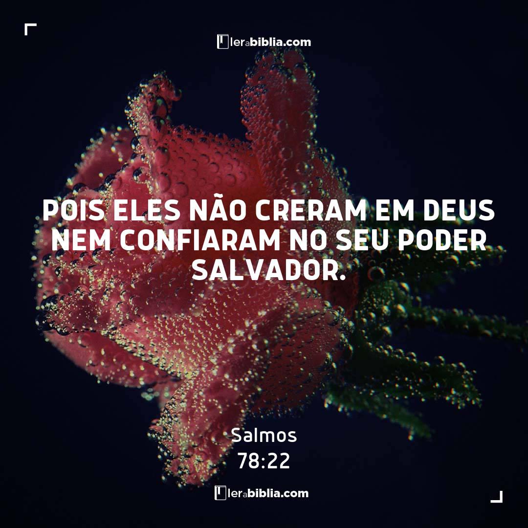 Salmos - 78 - 22 - pois eles não creram em Deus nem confiaram no seu poder salvador.