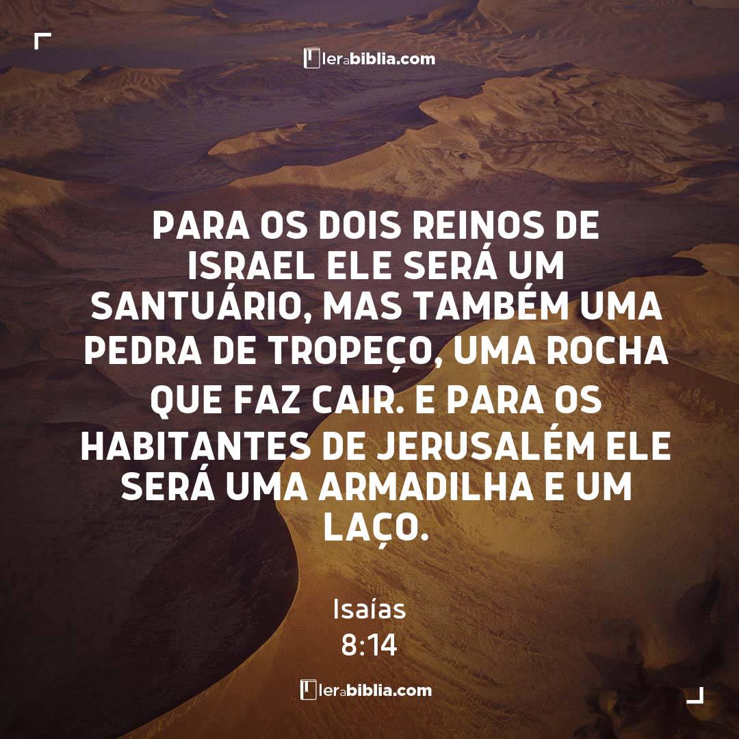 Para os dois reinos de Israel ele será um santuário, mas também uma pedra de tropeço, uma rocha que faz cair. E para os habitantes de Jerusalém ele será uma armadilha e um laço. – Isaías