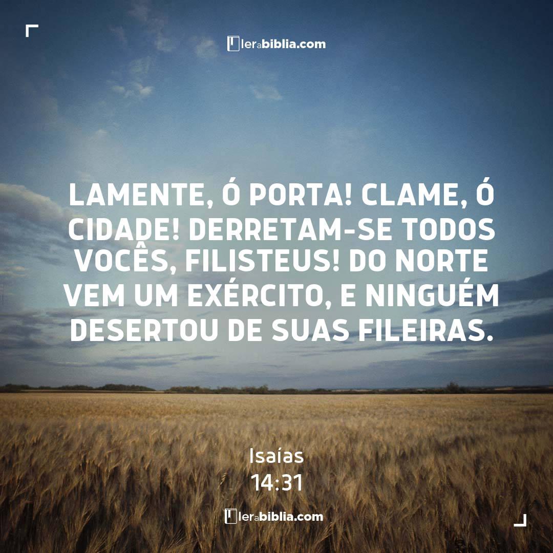 Lamente, ó porta! Clame, ó cidade! Derretam-se todos vocês, filisteus! Do norte vem um exército, e ninguém desertou de suas fileiras. – Isaías