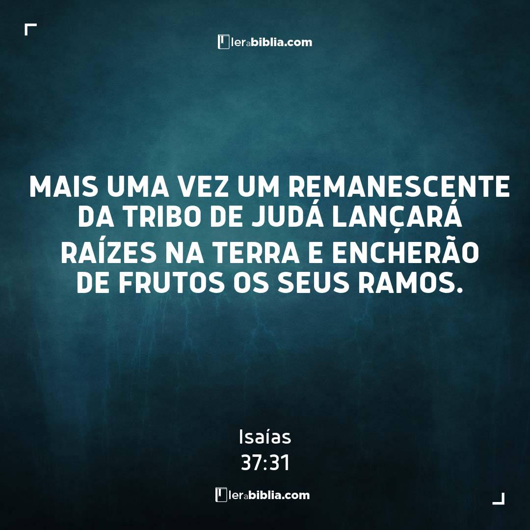 Isaías - 37 - 31 - Mais uma vez um remanescente da tribo de Judá lançará raízes na terra e encherão de frutos os seus ramos.