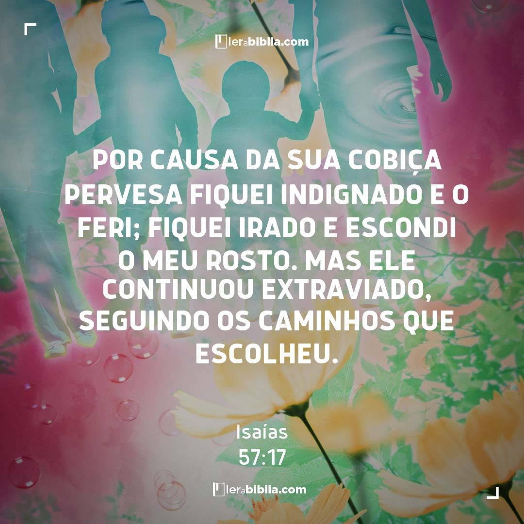 Por causa da sua cobiça pervesa fiquei indignado e o feri; fiquei irado e escondi o meu rosto. Mas ele continuou extraviado, seguindo os caminhos que escolheu. – Isaías