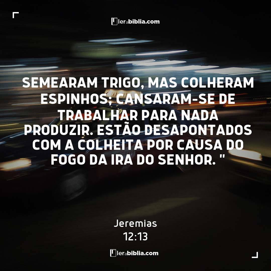 """Semearam trigo, mas colheram espinhos; cansaram-se de trabalhar para nada produzir. Estão desapontados com a colheita por causa do fogo da ira do Senhor. """" – Jeremias"""