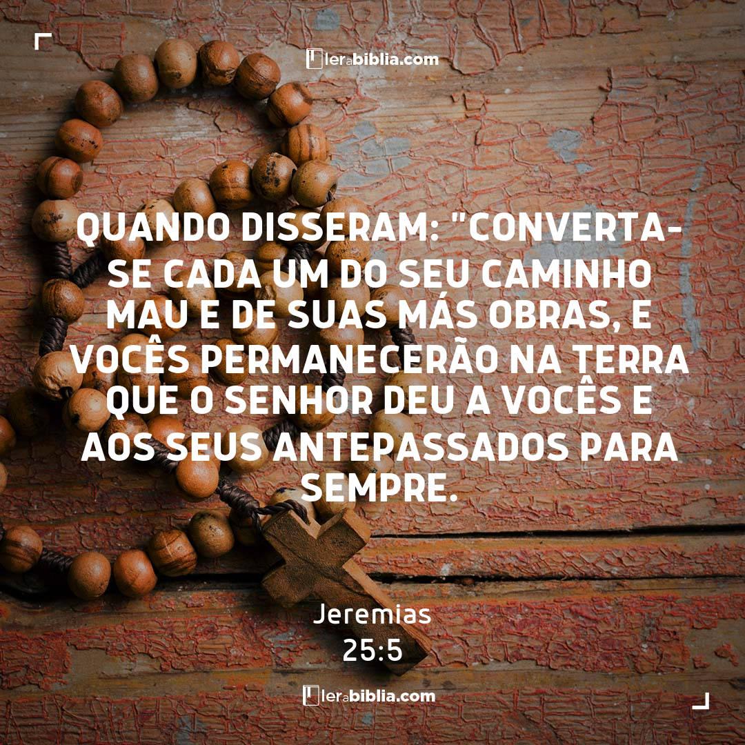 """quando disseram: """"Converta-se cada um do seu caminho mau e de suas más obras, e vocês permanecerão na terra que o Senhor deu a vocês e aos seus antepassados para sempre. – Jeremias"""