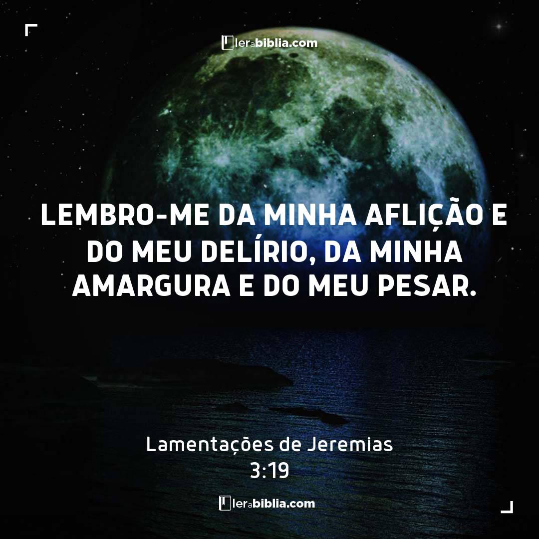 Lembro-me da minha aflição e do meu delírio, da minha amargura e do meu pesar. – Lamentações de Jeremias
