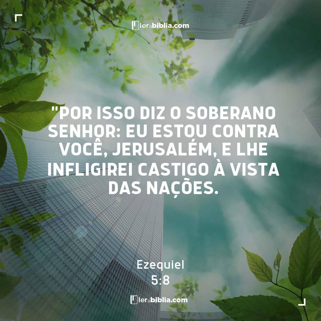 """""""Por isso diz o Soberano Senhor: Eu estou contra você, Jerusalém, e lhe infligirei castigo à vista das nações. – Ezequiel"""