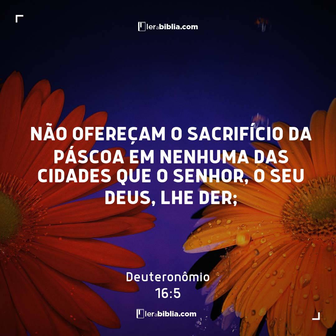 Não ofereçam o sacrifício da Páscoa em nenhuma das cidades que o Senhor, o seu Deus, lhe der; – Deuteronômio