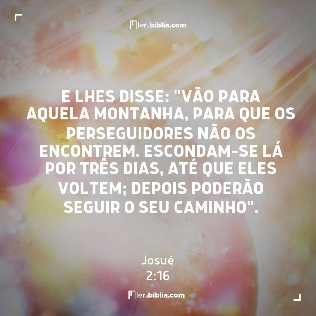 """e lhes disse: """"Vão para aquela montanha, para que os perseguidores não os encontrem. Escondam-se lá por três dias, até que eles voltem; depois poderão seguir o seu caminho"""". – Josué"""