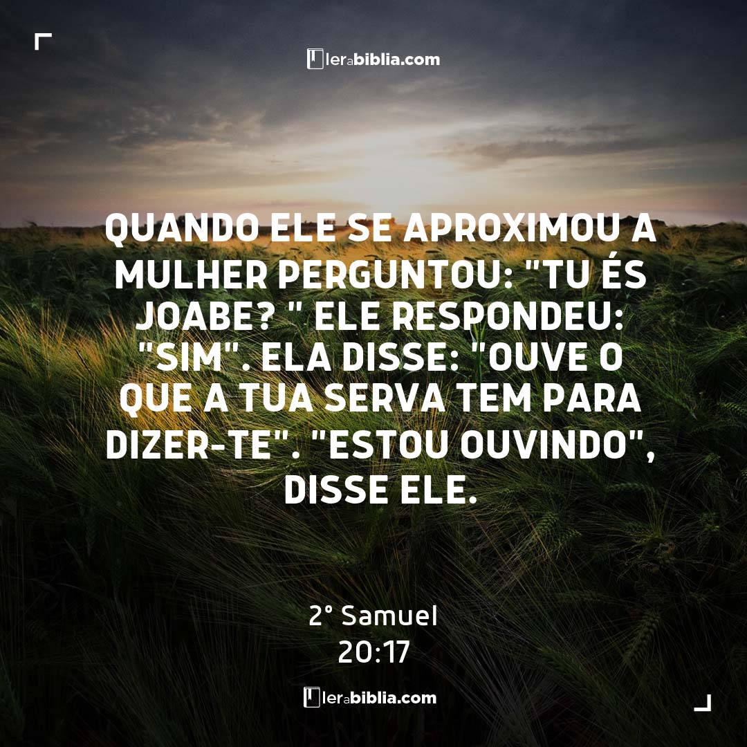 """2º Samuel - 20 - 17 - Quando ele se aproximou a mulher perguntou: """"Tu és Joabe? """" Ele respondeu: """"Sim"""". Ela disse: """"Ouve o que a tua serva tem para dizer-te"""". """"Estou ouvindo"""""""