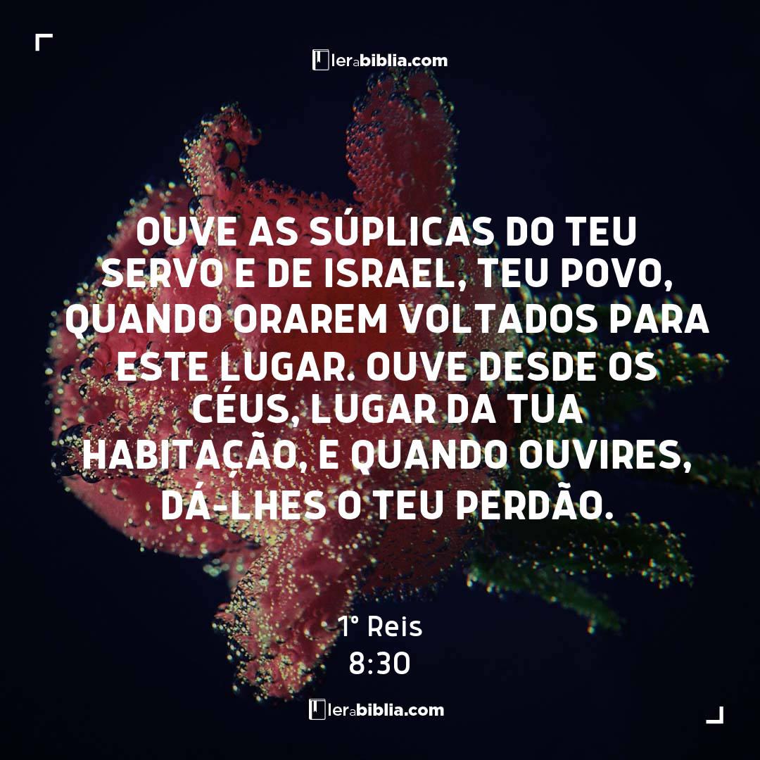 Ouve as súplicas do teu servo e de Israel, teu povo, quando orarem voltados para este lugar. Ouve desde os céus, lugar da tua habitação, e quando ouvires, dá-lhes o teu perdão. – 1º Reis